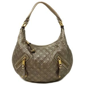 MARC JACOBS Quilted Calfskin Leather Hobo Bag